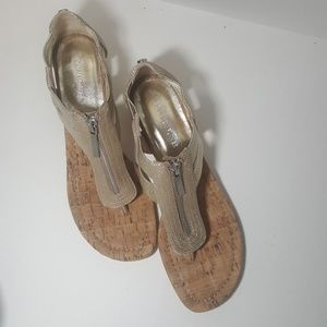 Donald J. Pliner Shoes - Donald J. Pliner gold Dori thong wedge sandal  | 9